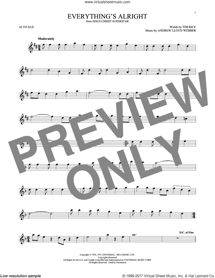Everything's Alright (from Jesus Christ Superstar) sheet music for alto saxophone solo by Andrew Lloyd Webber, Yvonne Elliman and Tim Rice, intermediate skill level