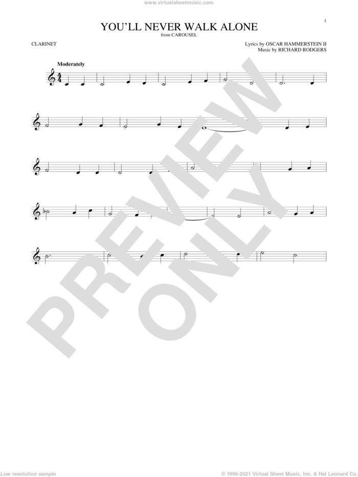 You'll Never Walk Alone (from Carousel) sheet music for clarinet solo by Rodgers & Hammerstein, Oscar II Hammerstein and Richard Rodgers, intermediate skill level