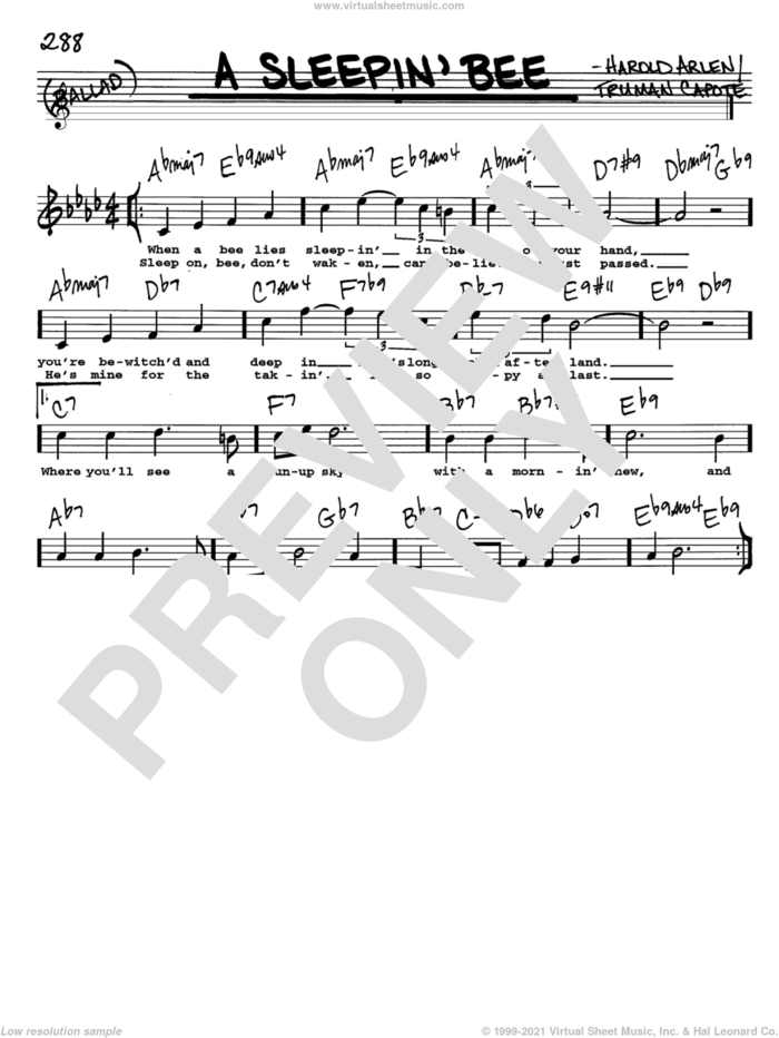 A Sleepin' Bee sheet music for voice and other instruments  by Harold Arlen and Truman Capote, intermediate skill level