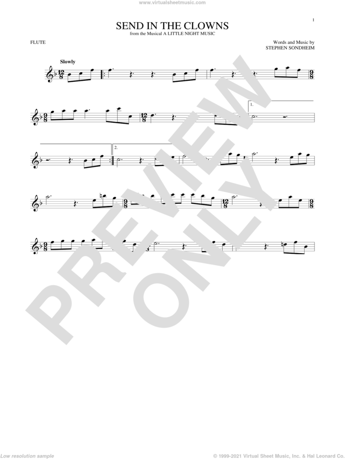 Send In The Clowns sheet music for flute solo by Stephen Sondheim, intermediate skill level