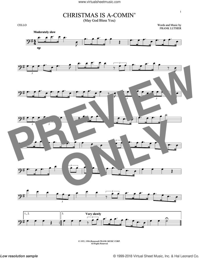 Christmas Is A-Comin' (May God Bless You) sheet music for cello solo by Frank Luther, intermediate skill level