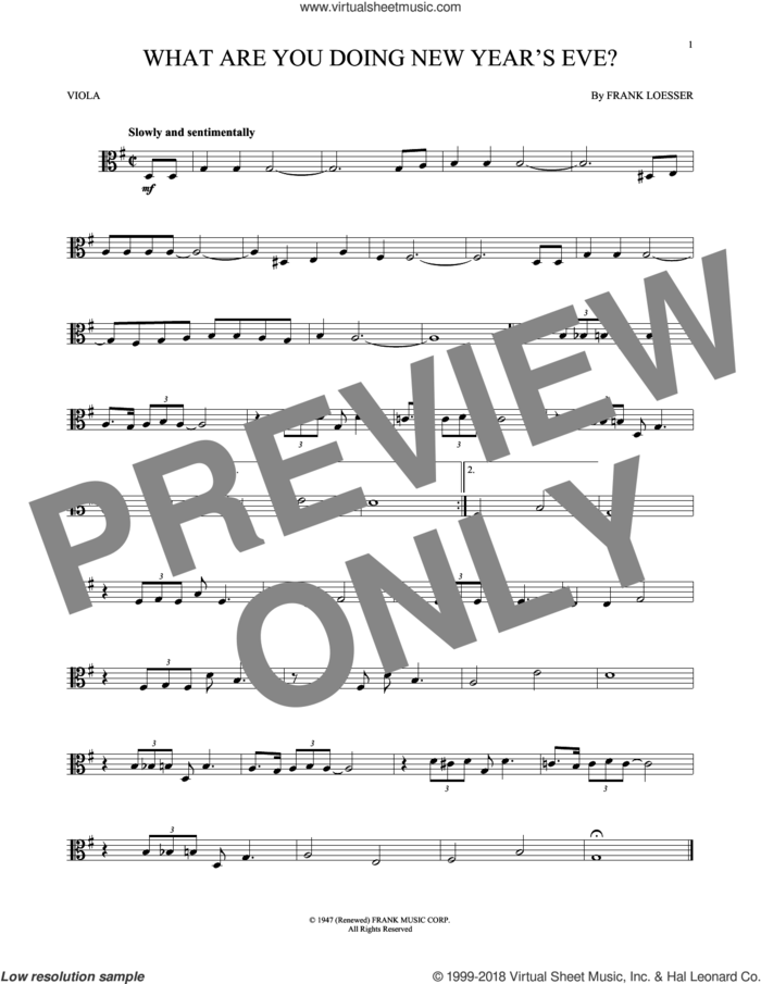 What Are You Doing New Year's Eve? sheet music for viola solo by Frank Loesser, intermediate skill level