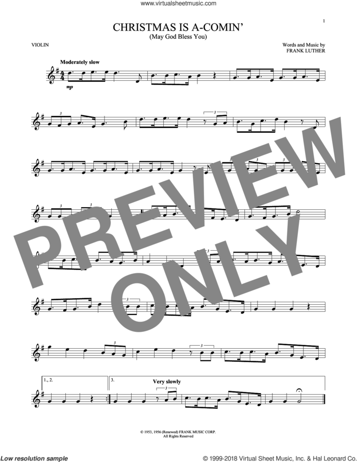 Christmas Is A-Comin' (May God Bless You) sheet music for violin solo by Frank Luther, intermediate skill level