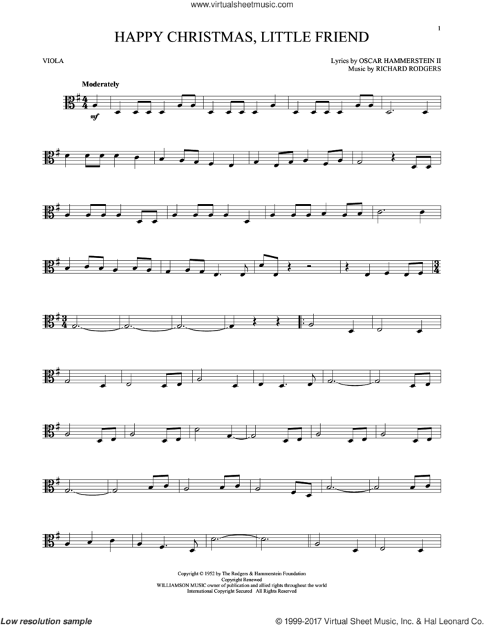 Happy Christmas, Little Friend sheet music for viola solo by Rodgers & Hammerstein, Oscar II Hammerstein and Richard Rodgers, intermediate skill level