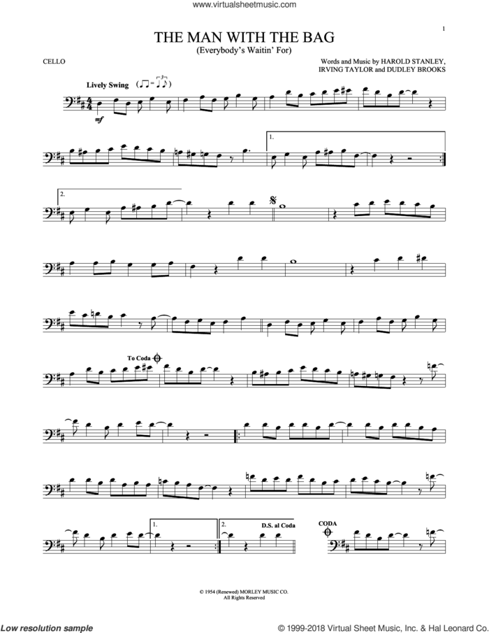 (Everybody's Waitin' For) The Man With The Bag sheet music for cello solo by Irving Taylor, Dudley Brooks and Harold Stanley, intermediate skill level