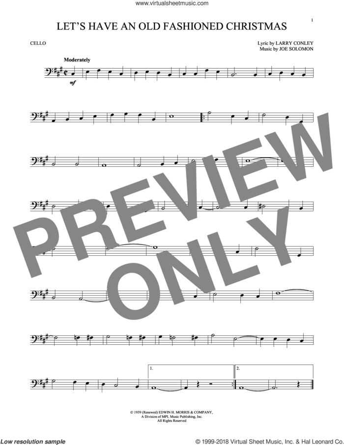 Let's Have An Old Fashioned Christmas sheet music for cello solo by Larry Conley and Joe Solomon, intermediate skill level