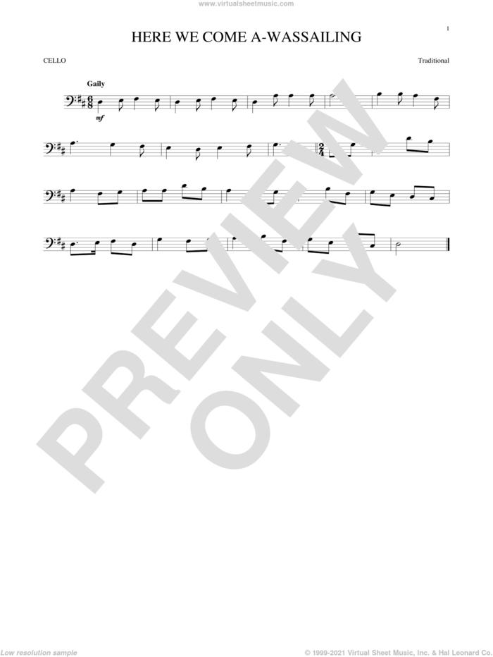 Here We Come A-Wassailing sheet music for cello solo, intermediate skill level