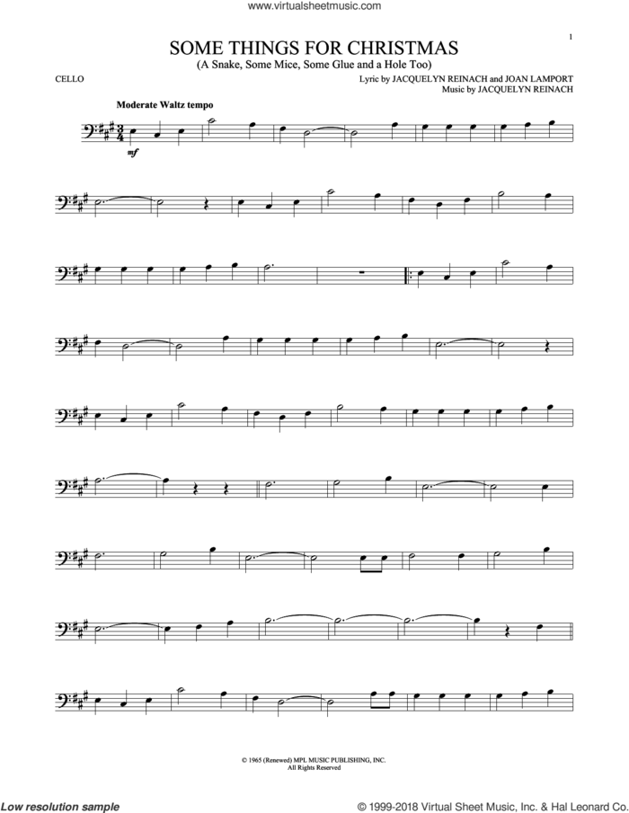 Some Things For Christmas (A Snake, Some Mice, Some Glue And A Hole Too) sheet music for cello solo by Jacquelyn Reinach and Joan Lamport, intermediate skill level