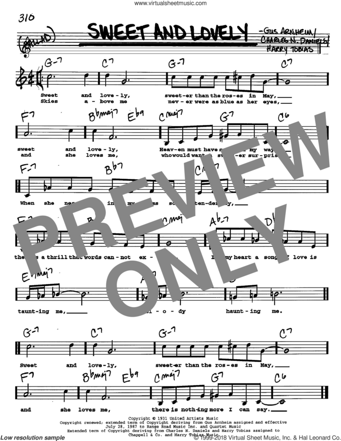 Sweet And Lovely sheet music for voice and other instruments  by Gus Arnheim, Dizzy Gillespie, Charles N. Daniels and Harry Tobias, intermediate skill level