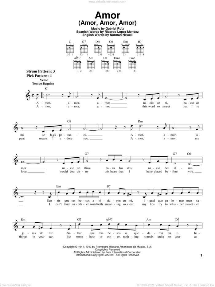 Amor (Amor, Amor, Amor) sheet music for guitar solo (chords) by Gabriel Ruiz, Norman Newell and Ricardo Lopez Mendez, easy guitar (chords)