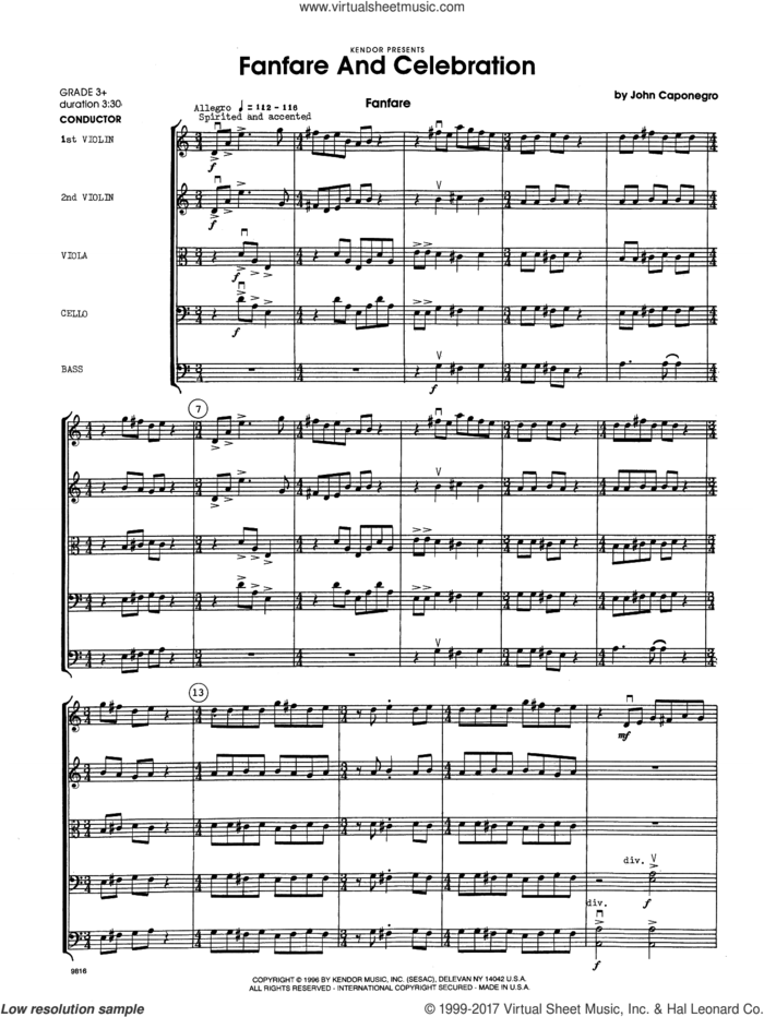 Fanfare and Celebration (COMPLETE) sheet music for orchestra by John Caponegro, classical score, intermediate skill level