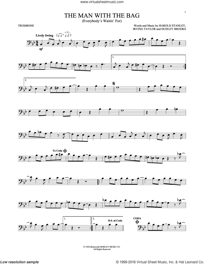 (Everybody's Waitin' For) The Man With The Bag sheet music for trombone solo by Irving Taylor, Harold Stanley and Dudley Brooks, intermediate skill level
