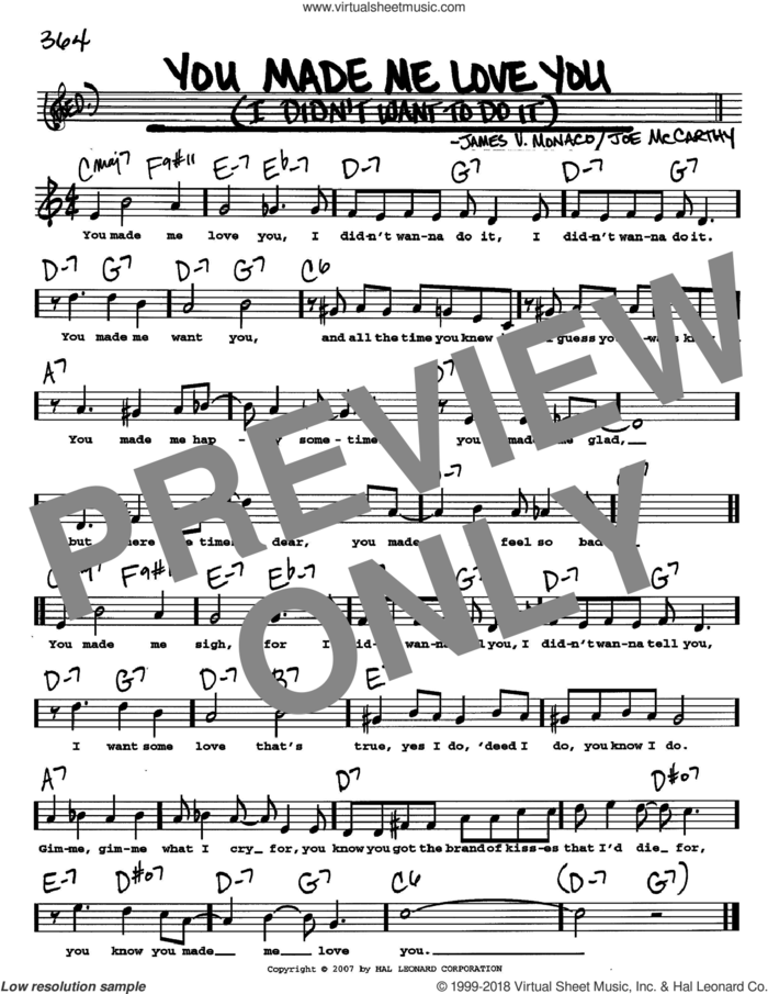 You Made Me Love You (I Didn't Want To Do It) sheet music for voice and other instruments  by Joe McCarthy and James Monaco, intermediate skill level