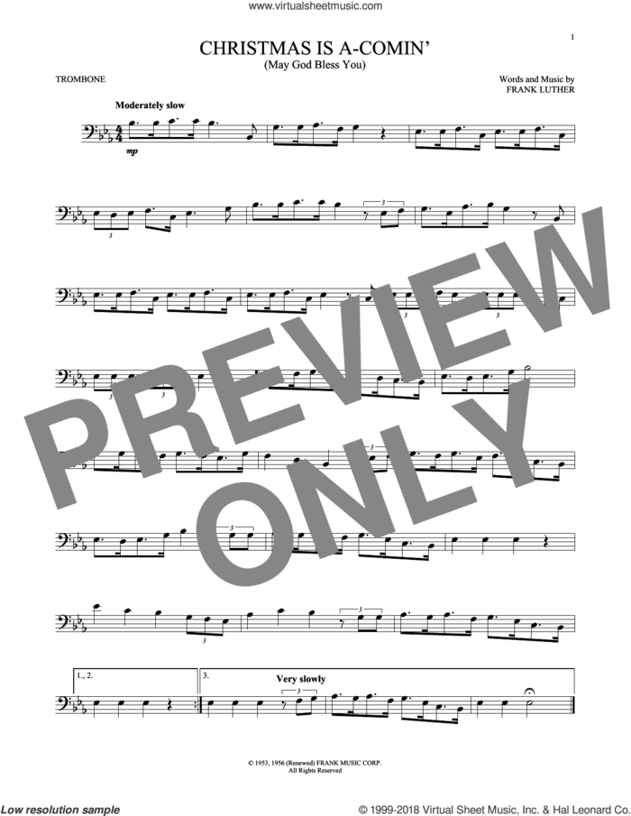Christmas Is A-Comin' (May God Bless You) sheet music for trombone solo by Frank Luther, intermediate skill level
