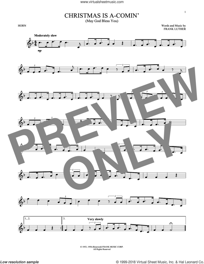 Christmas Is A-Comin' (May God Bless You) sheet music for horn solo by Frank Luther, intermediate skill level