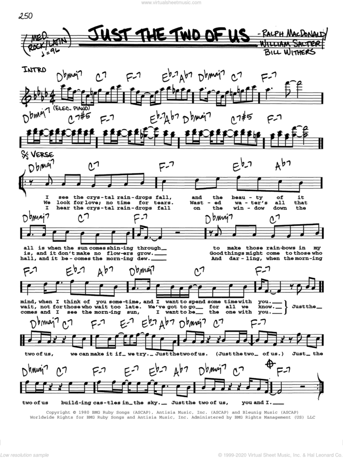 Just The Two Of Us sheet music for voice and other instruments  by Grover Washington Jr., Grover Washington Jr. feat. Bill Withers, Bill Withers, Ralph MacDonald and William Salter, wedding score, intermediate skill level