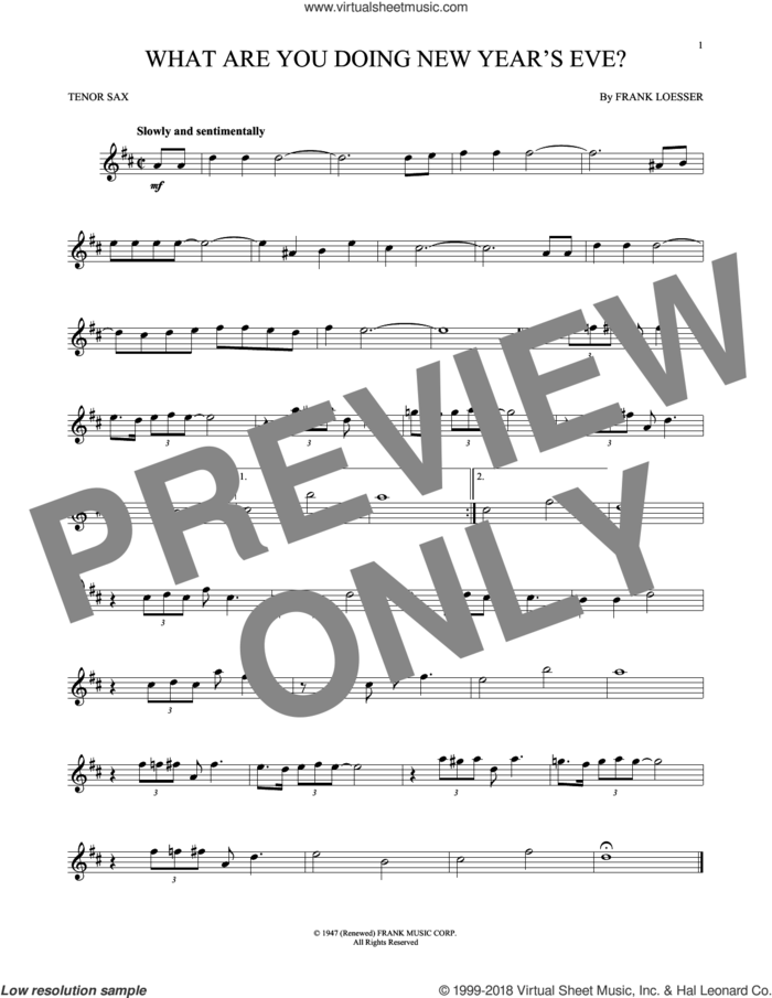 What Are You Doing New Year's Eve? sheet music for tenor saxophone solo by Frank Loesser, intermediate skill level