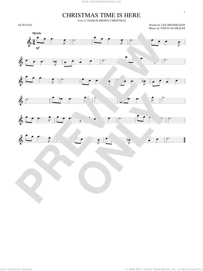 Christmas Time Is Here sheet music for alto saxophone solo by Vince Guaraldi and Lee Mendelson, intermediate skill level