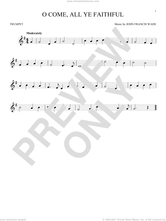 O Come, All Ye Faithful sheet music for trumpet solo by John Francis Wade and Frederick Oakeley (English), classical score, intermediate skill level