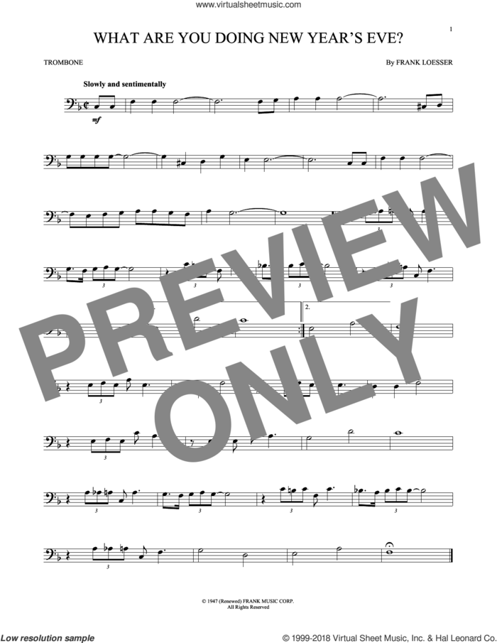 What Are You Doing New Year's Eve? sheet music for trombone solo by Frank Loesser, intermediate skill level