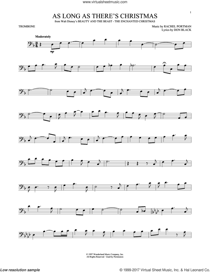 As Long As There's Christmas sheet music for trombone solo by Peabo Bryson and Roberta Flack, Don Black and Rachel Portman, intermediate skill level