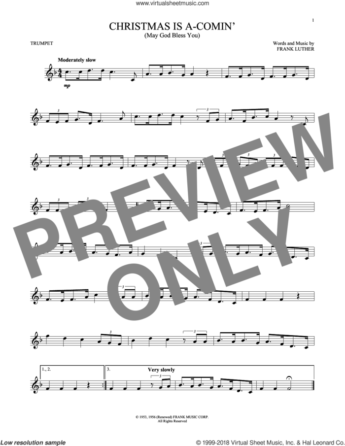 Christmas Is A-Comin' (May God Bless You) sheet music for trumpet solo by Frank Luther, intermediate skill level