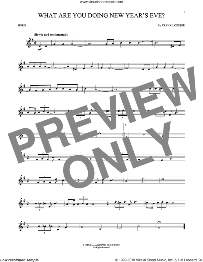 What Are You Doing New Year's Eve? sheet music for horn solo by Frank Loesser, intermediate skill level