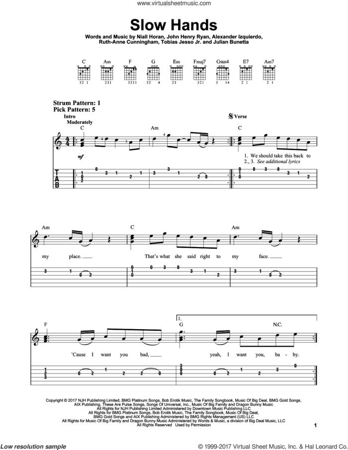 Slow Hands sheet music for guitar solo (easy tablature) by Niall Horan, Alexander Izquierdo, John Henry Ryan, Julian Bunetta, Ruth Anne Cunningham and Tobias Jesso Jr., easy guitar (easy tablature)