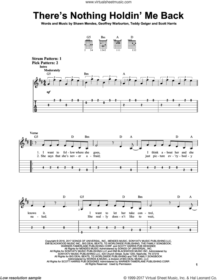 There's Nothing Holdin' Me Back sheet music for guitar solo (easy tablature) by Shawn Mendes, Geoffrey Warburton, Scott Harris and Teddy Geiger, easy guitar (easy tablature)