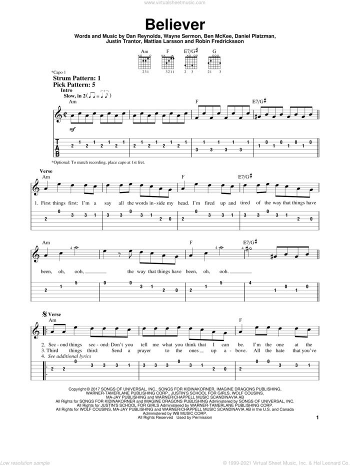 Believer sheet music for guitar solo (easy tablature) by Imagine Dragons, Ben McKee, Dan Reynolds, Daniel Platzman, Justin Tranter, Mattias Larsson, Robin Fredriksson and Wayne Sermon, easy guitar (easy tablature)