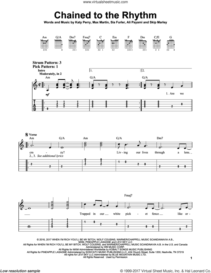 Chained To The Rhythm sheet music for guitar solo (easy tablature) by Katy Perry, Ali Payami, Max Martin, Sia Furler and Skip Marley, easy guitar (easy tablature)