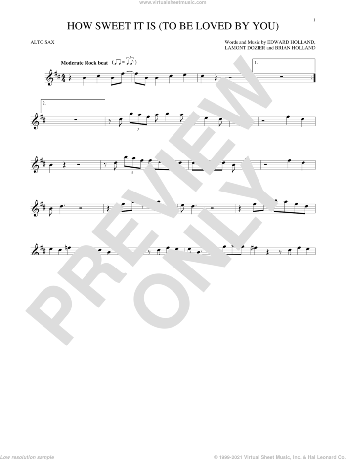 How Sweet It Is (To Be Loved By You) sheet music for alto saxophone solo by James Taylor, Marvin Gaye, Brian Holland, Eddie Holland and Lamont Dozier, intermediate skill level