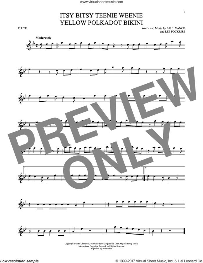 Itsy Bitsy Teenie Weenie Yellow Polkadot Bikini sheet music for flute solo by Brian Hyland, Lee Pockriss and Paul Vance, intermediate skill level