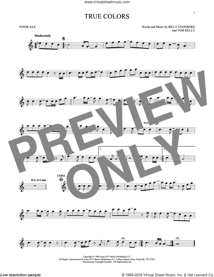 True Colors sheet music for tenor saxophone solo by Cyndi Lauper, Billy Steinberg and Tom Kelly, intermediate skill level