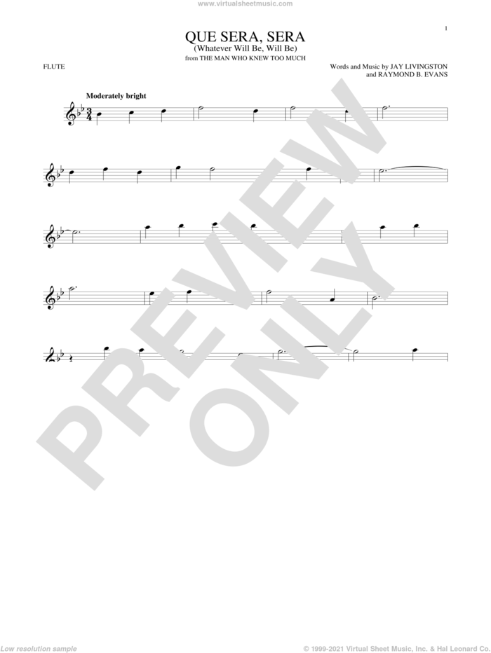 Que Sera, Sera (Whatever Will Be, Will Be) sheet music for flute solo by Doris Day, Jay Livingston and Raymond B. Evans, intermediate skill level