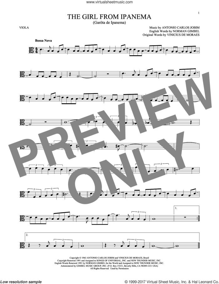 The Girl From Ipanema (Garota De Ipanema) sheet music for viola solo by Norman Gimbel, Stan Getz & Astrud Gilberto, Antonio Carlos Jobim and Vinicius de Moraes, intermediate skill level