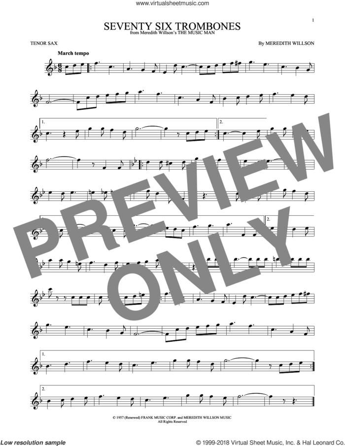 Seventy Six Trombones sheet music for tenor saxophone solo by Meredith Willson, intermediate skill level