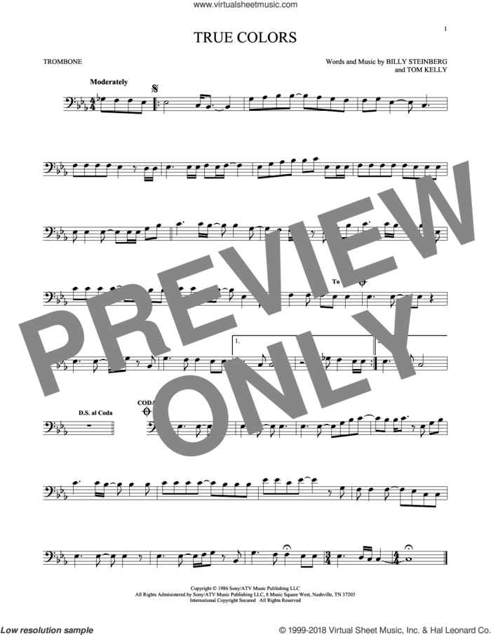 True Colors sheet music for trombone solo by Cyndi Lauper, Billy Steinberg and Tom Kelly, intermediate skill level