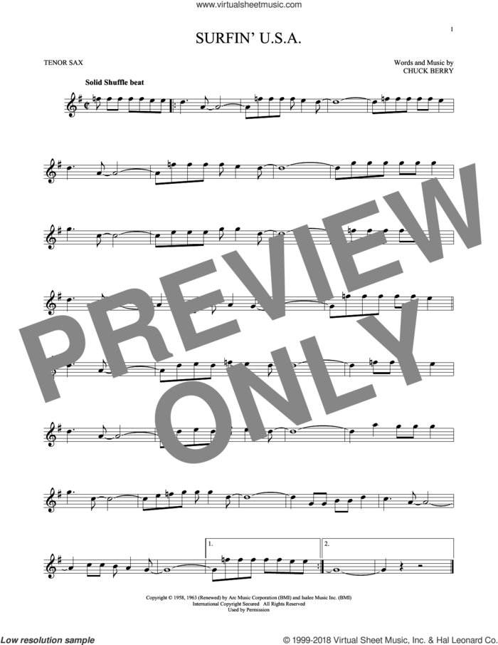 Surfin' U.S.A. sheet music for tenor saxophone solo by The Beach Boys and Chuck Berry, intermediate skill level