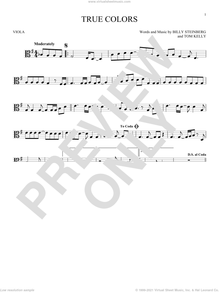True Colors sheet music for viola solo by Cyndi Lauper, Billy Steinberg and Tom Kelly, intermediate skill level