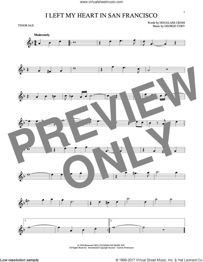 I Left My Heart In San Francisco sheet music for tenor saxophone solo by Tony Bennett, Douglass Cross and George Cory, intermediate skill level