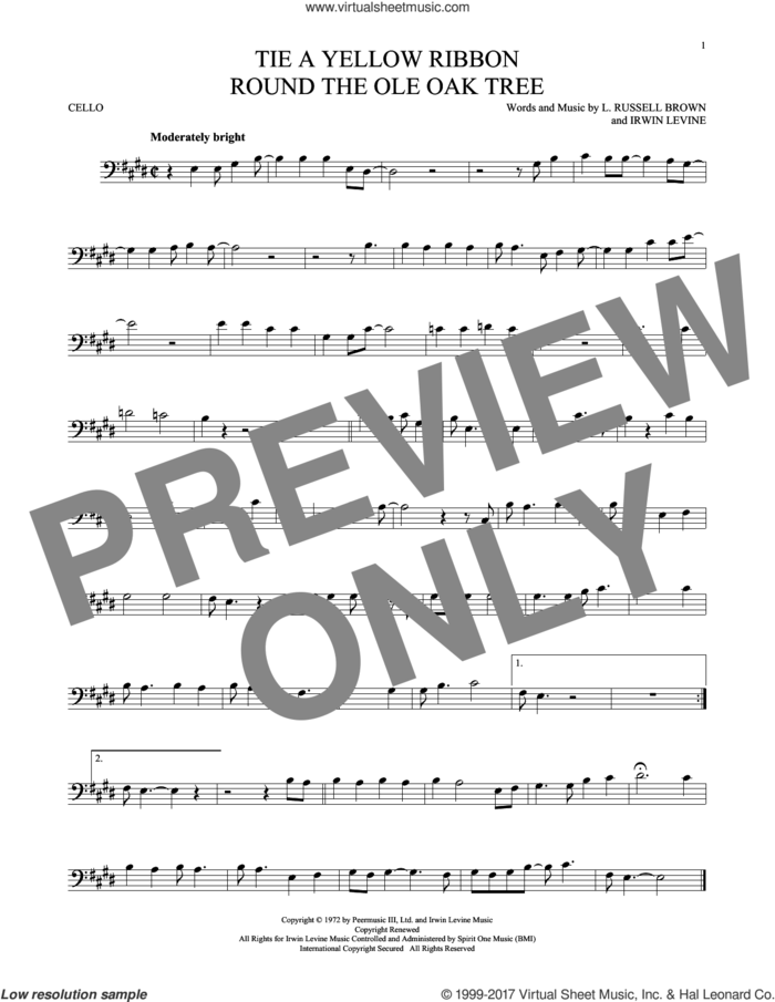 Tie A Yellow Ribbon Round The Ole Oak Tree sheet music for cello solo by Dawn featuring Tony Orlando, Irwin Levine and L. Russell Brown, intermediate skill level