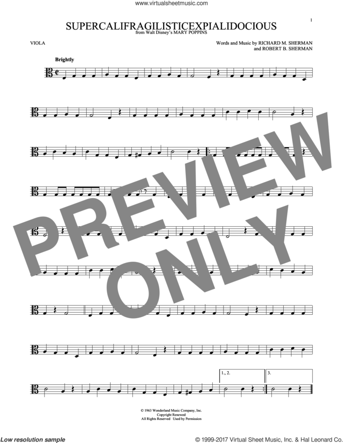 Supercalifragilisticexpialidocious (from Mary Poppins) sheet music for viola solo by Sherman Brothers, Richard M. Sherman and Robert B. Sherman, intermediate skill level