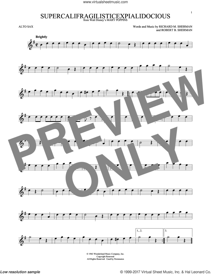 Supercalifragilisticexpialidocious (from Mary Poppins) sheet music for alto saxophone solo by Sherman Brothers, Richard M. Sherman and Robert B. Sherman, intermediate skill level