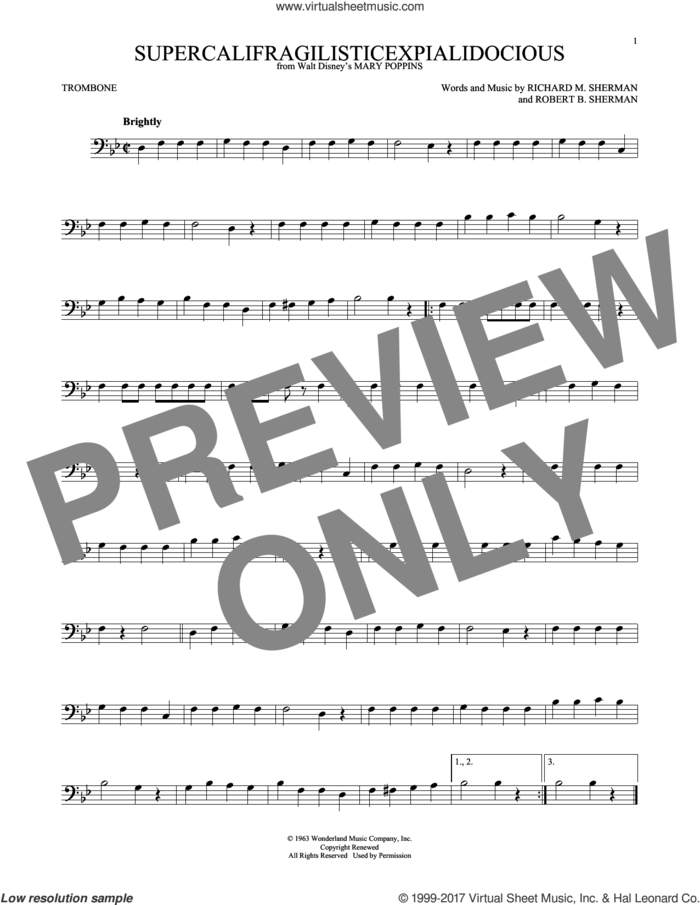 Supercalifragilisticexpialidocious (from Mary Poppins) sheet music for trombone solo by Sherman Brothers, Richard M. Sherman and Robert B. Sherman, intermediate skill level