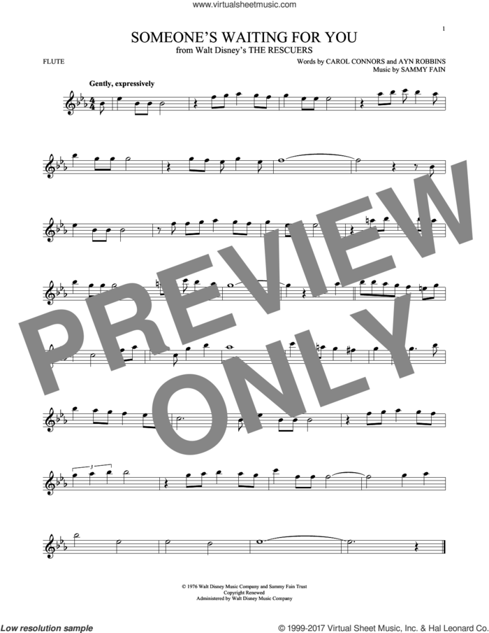Someone's Waiting For You sheet music for flute solo by Ayn Robbins, Carol Connors and Sammy Fain, intermediate skill level