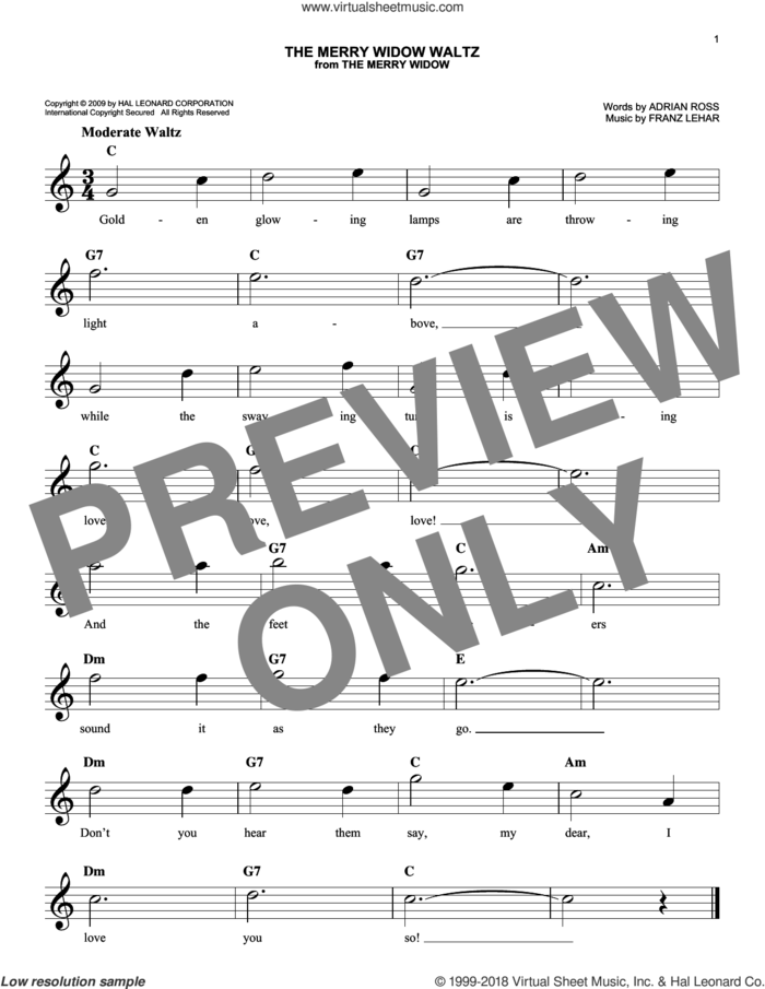 The Merry Widow Waltz sheet music for voice and other instruments (fake book) by Franz Lehar and Adrian Ross, intermediate skill level