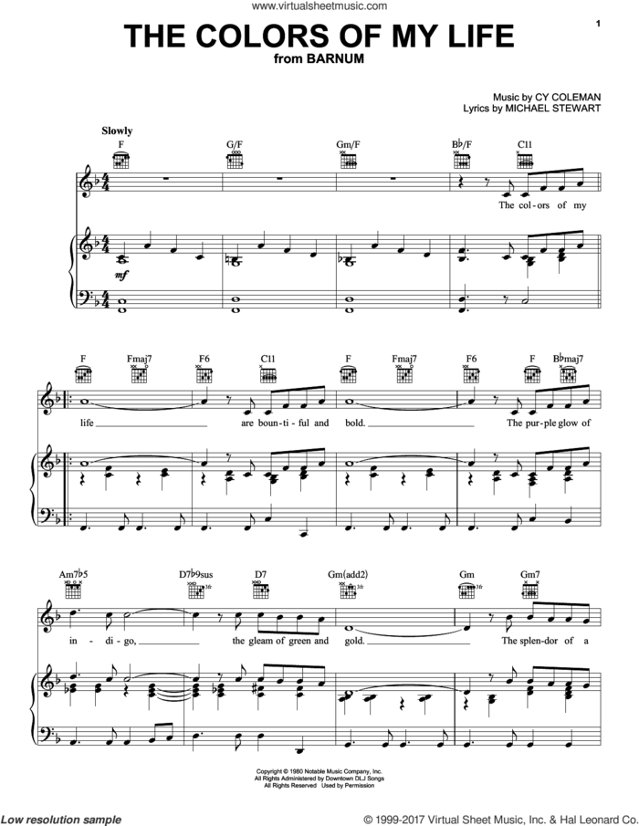 The Colors Of My Life sheet music for voice, piano or guitar by Cy Coleman and Michael Stewart, intermediate skill level