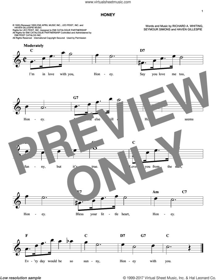 Honey sheet music for voice and other instruments (fake book) by Haven Gillespie, Richard A. Whiting and Seymour Simons, intermediate skill level
