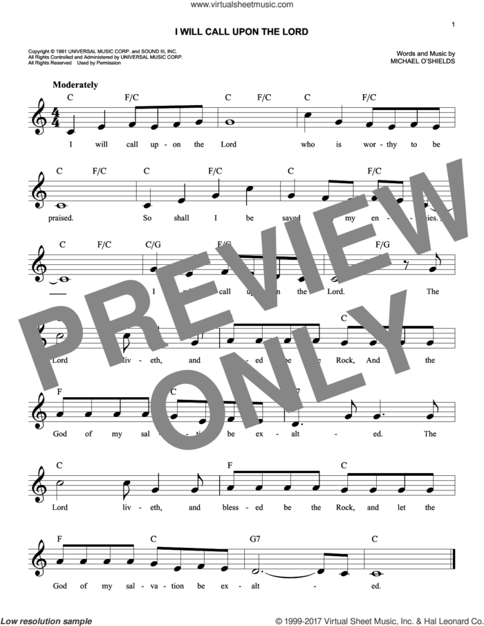 I Will Call Upon The Lord sheet music for voice and other instruments (fake book) by Michael O'Shields, intermediate skill level